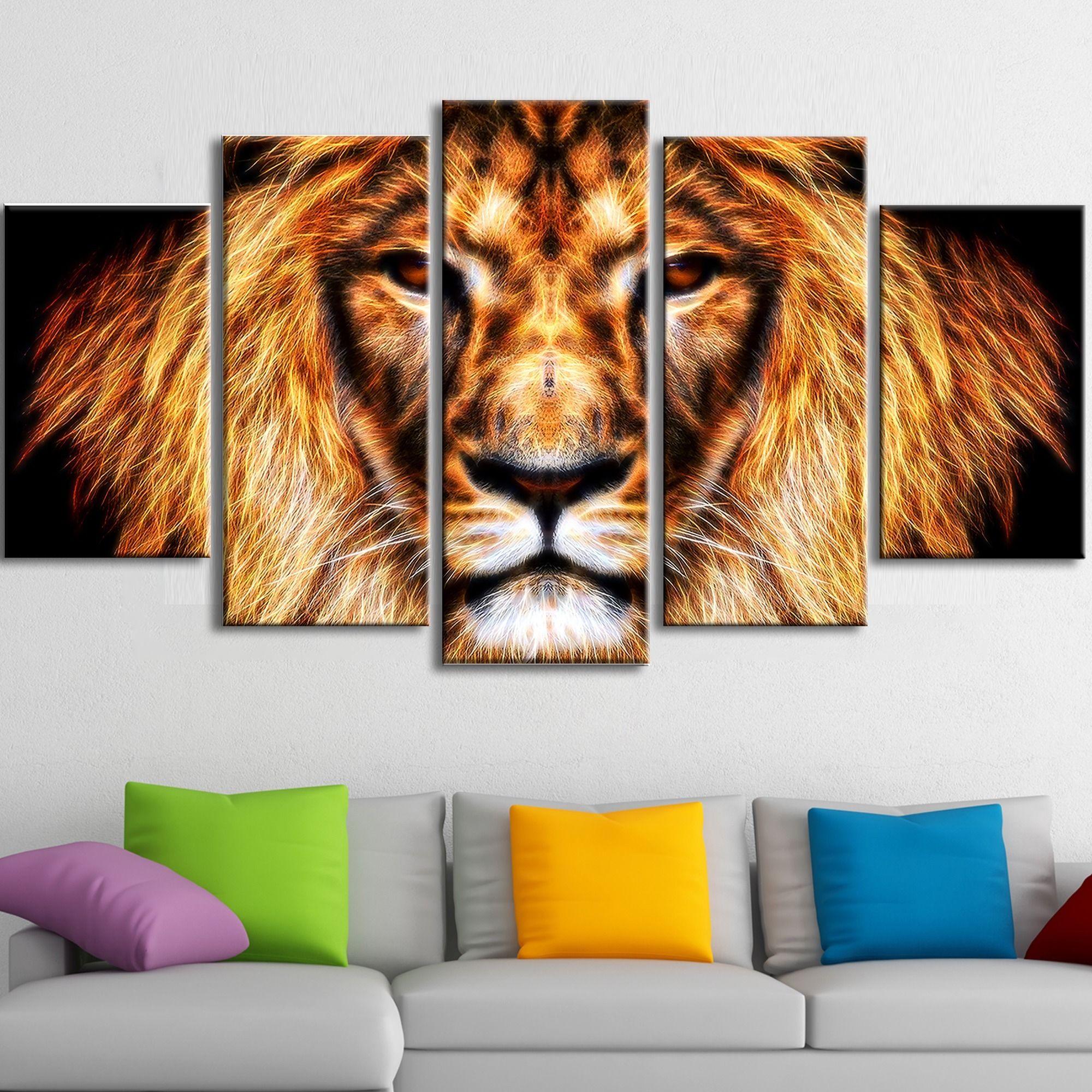 <li>Hear Him Roar - Lion Animal Canvas - Multiple Sizes</li