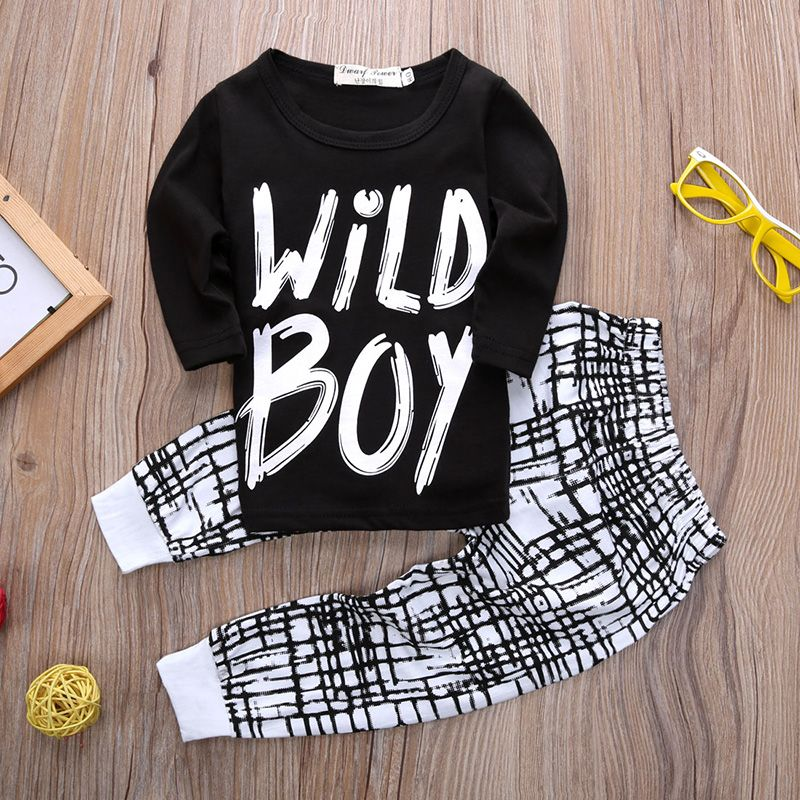 $6.29 (Buy here: http://appdeal.ru/74sx ) 2016 Newborn Infant Baby Kids Boys Wild Boy Cotton Letter Long Tops T-shirt+ Plaid Pants Outfits Sets 0-2Y for just $6.29
