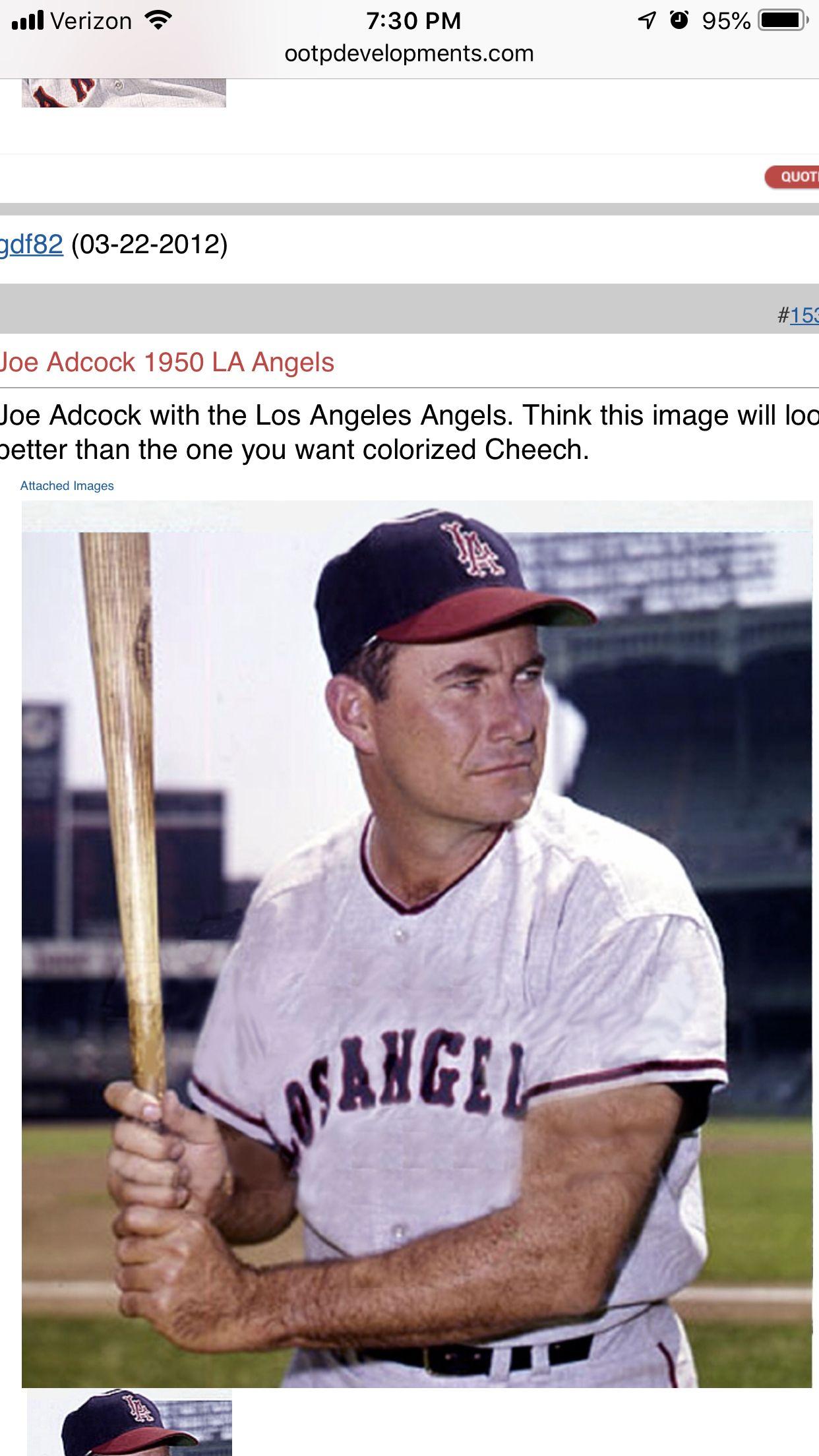 Joe Adcock Angels baseball, Los angeles angels, Baseball