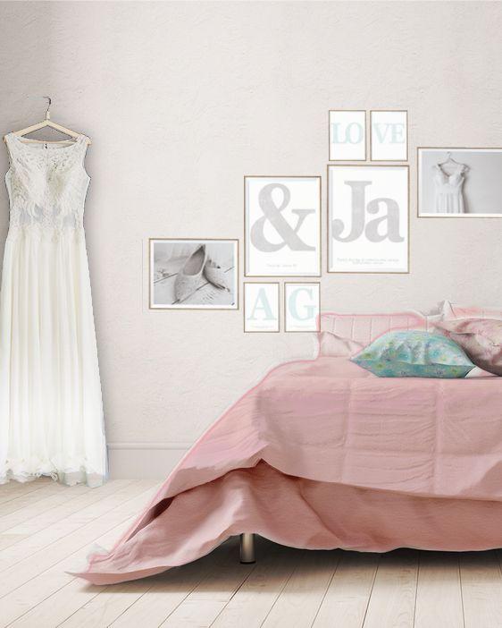 Wand Dekoration Für Das Schlafzimmer  Eine Bilderwand Aus Selbstgestalteten  Postern Von Printcandy Und Eigenen Fotos  Rosa Grau | Wanddeko | Pinterest  ...