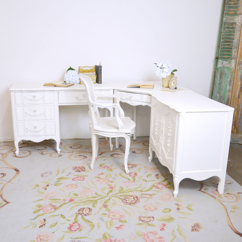Cozy Homeoffice Decor: 3 Piece Corner Desk Set $950.00 #OOAK #shabbychic