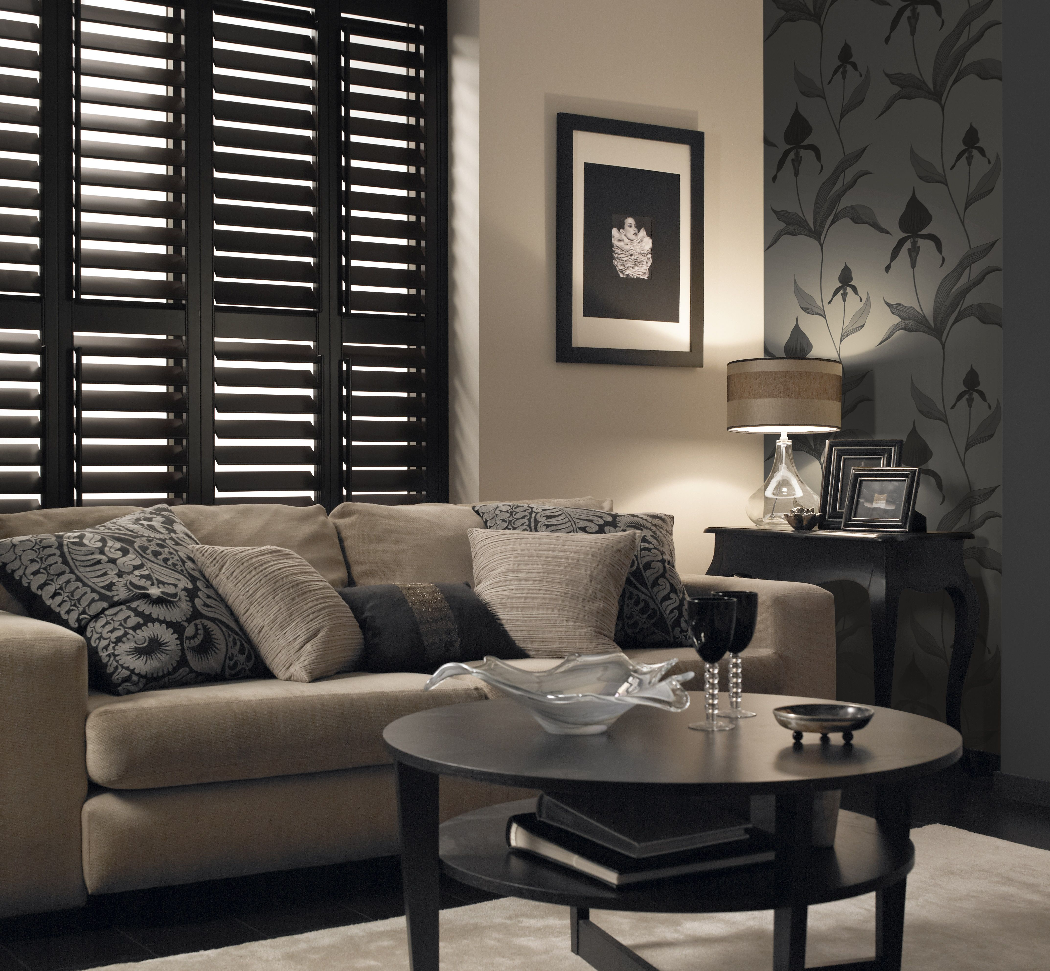 Living Room With Brown Shutters Interior Windows Wooden