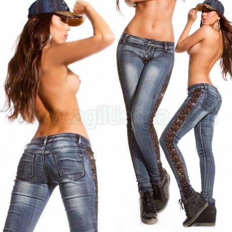 Comprar online pantalones vaqueros para mujeres color celeste con rosa o azul rasgados efecto gastados con agujeros encaje elastico de colores, Online tejanos focalizados u oxidados de efecto push-up moda exclusiva