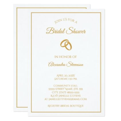 Bridal Shower Template Extraordinary Simple White And Gold Wedding Rings Bridal Shower Card  Bridal .