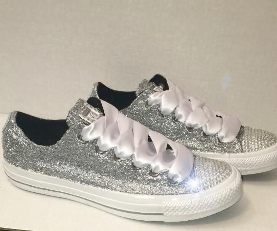 Womens Sparkly Silver Glitter Crystals Converse All Stars Shoes wedding  sneakers 0ecc70594