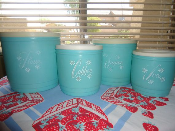 Charming Reserved For Mindy   Vintage   Retro Aqua Canister Set   Turquoise Plastic    Starburst 1950s Kitchen