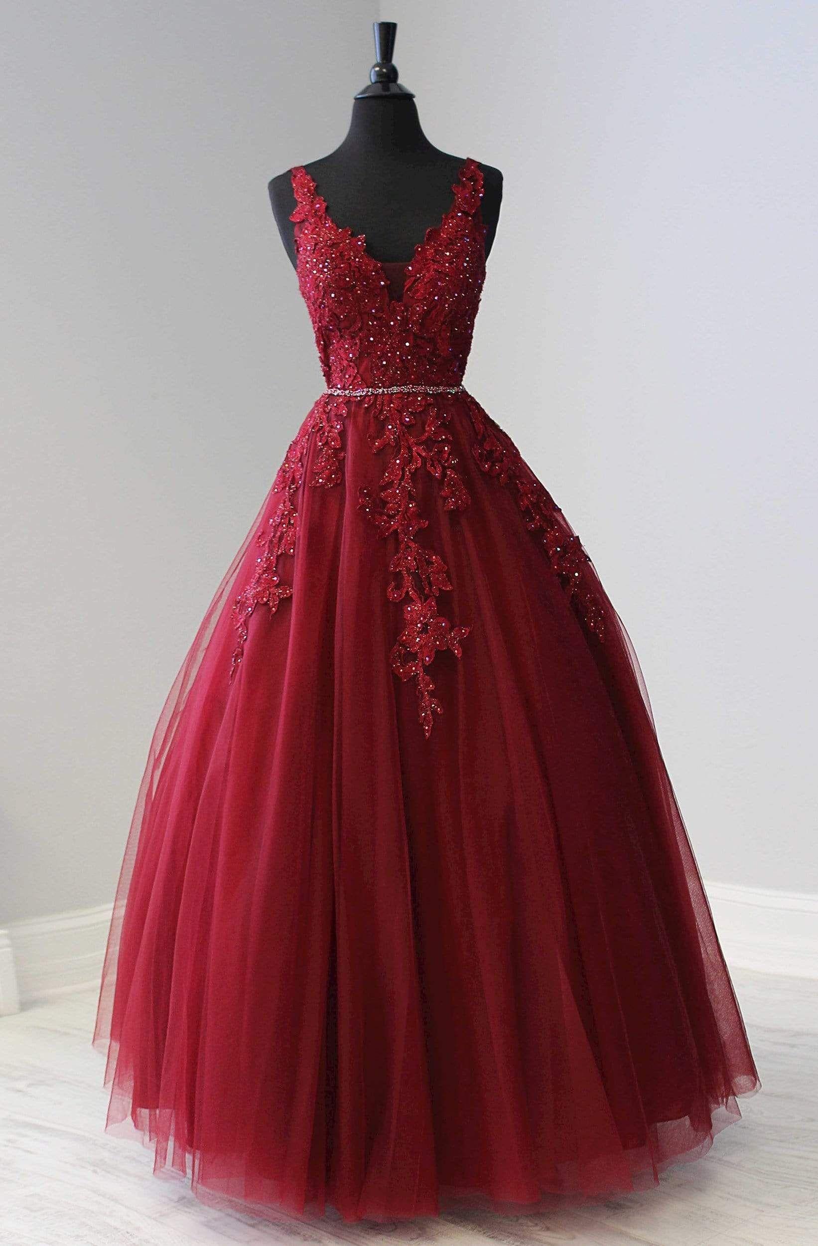Tiffany Designs - 16332 Floral Plunging V-Neck Bal
