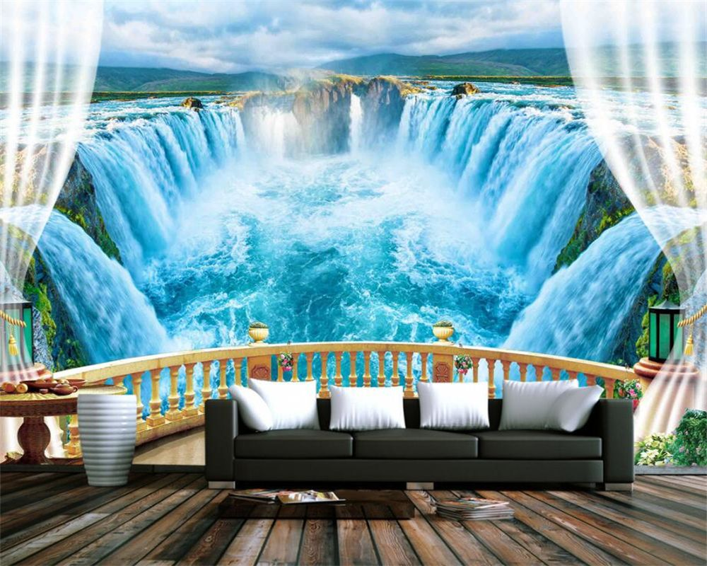 Beibehang 3D Wallpaper Landscape Balcony Lake Blue ...