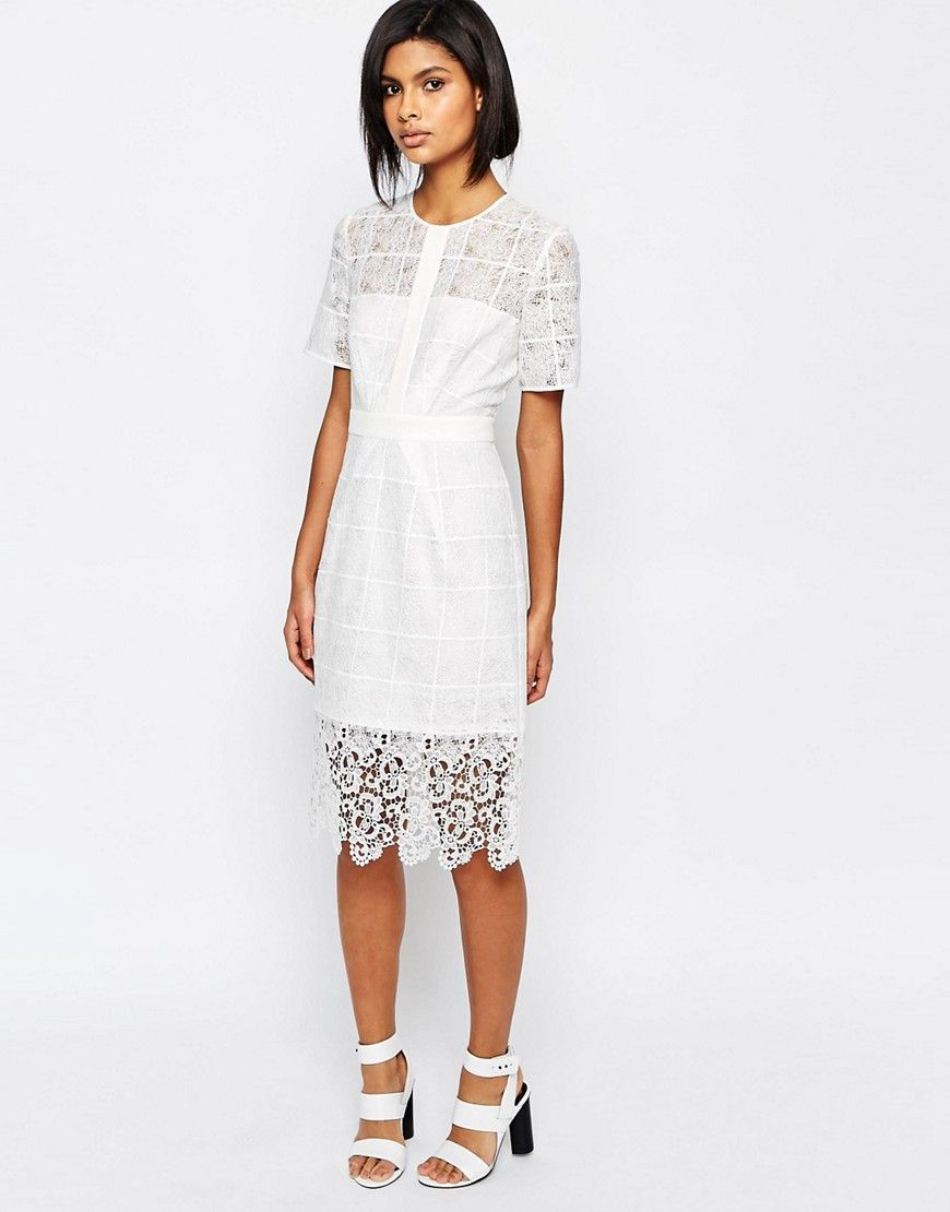 9822ccd75bcb2 Whistles Ailsa Placement Lace Dress in White | ASOS Dressy Things ...