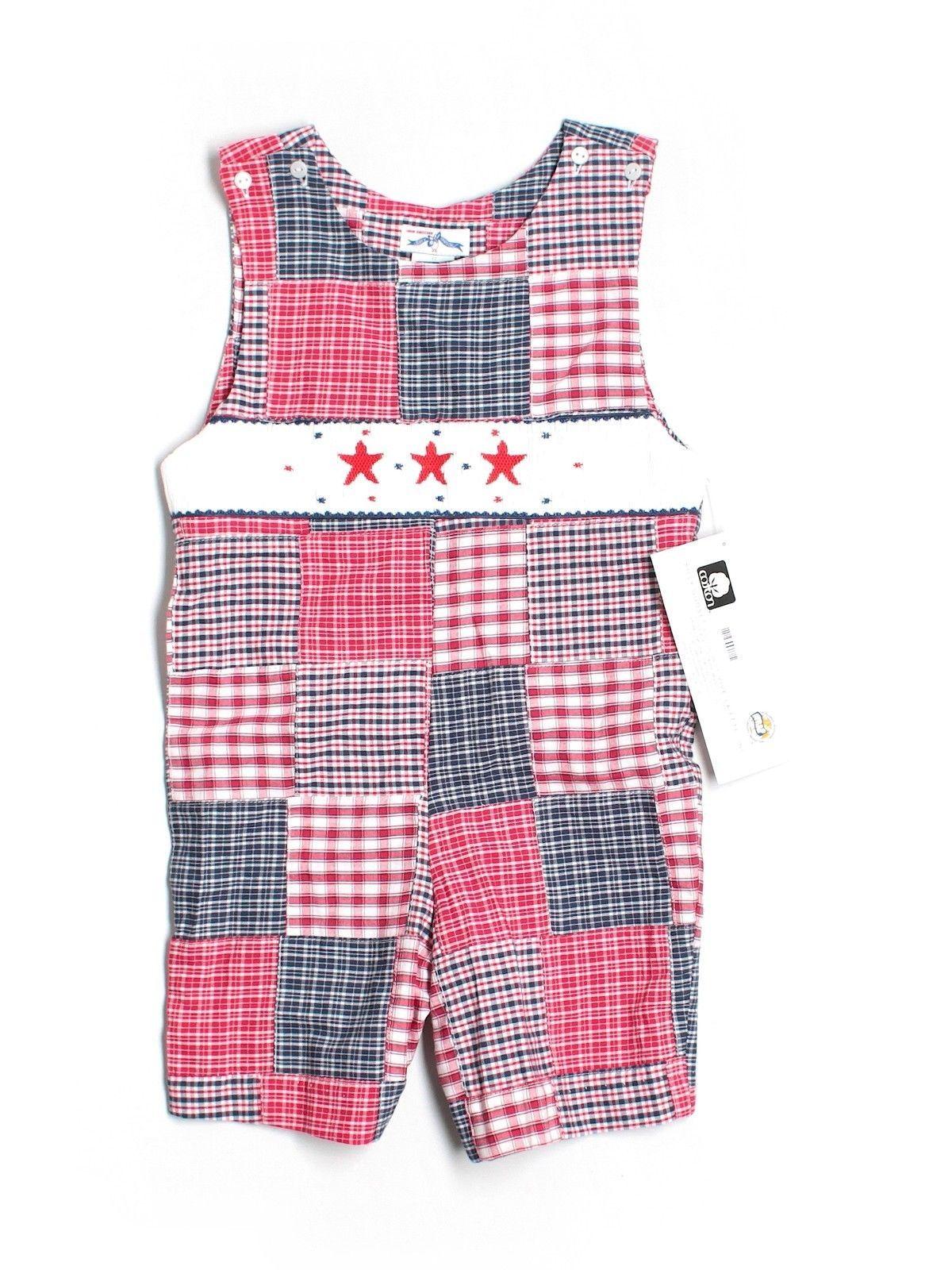 ccb7870c606 New Toddler Boy Silly GOOSE Patriotic Smocked Stars Romper Jon John Size 4T