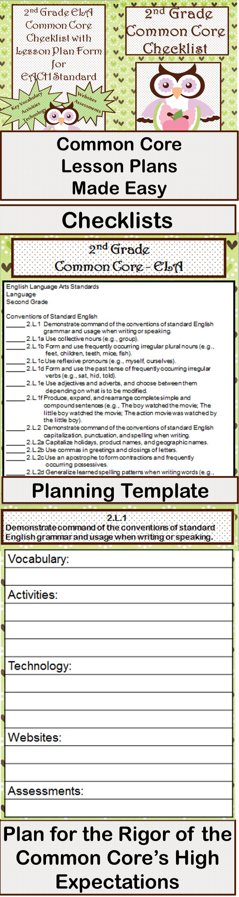Nd Grade ELA Common Core Checklist Lesson Planning Form - Lesson plan template using common core standards