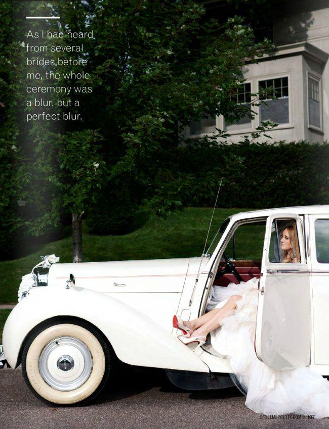 coche antiguo blanco novia