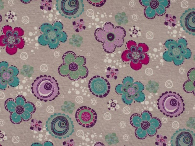Jersey Sunny Flowers Circles beige