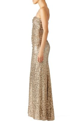 RENT THE RUNWAY Gold Glitterati Gown by Badgley Mischka