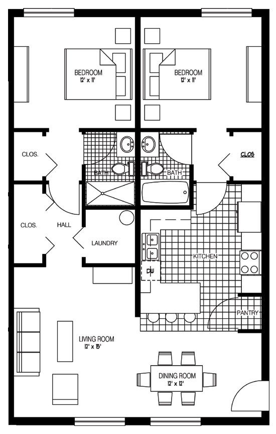 Senior apartments melbourne village worthington for 2 bedroom guest house floor plans