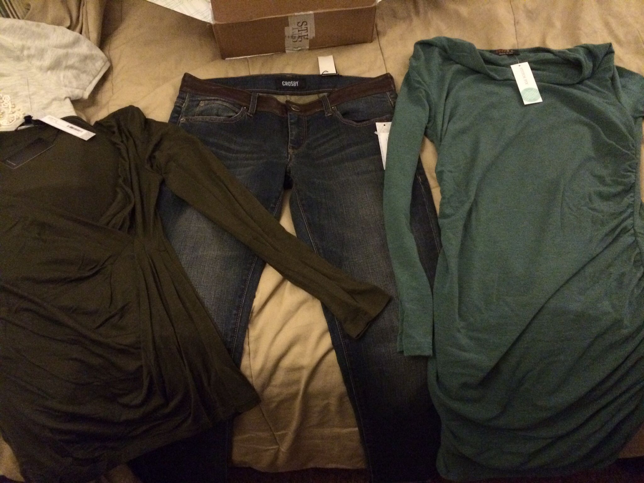 Tart to, Crosby skinny jeans, Renne C cowl dress