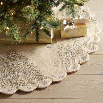 Sequined Tree Snowflake Tree Skirt Gold Christmas Tree Skirt Silver Christmas Tree Gold And Silver Christmas Trees