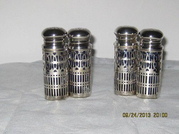 Four Cobalt Blue Glass Silverplate Salt and Pepper by bellesgirl, $16.00