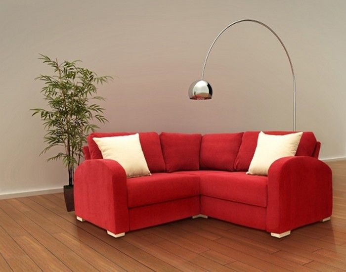 Red Upholstery Small Corner Sofa With White Pillow Small Corner Sofa Corner Sectional Sofa Small Corner Couch
