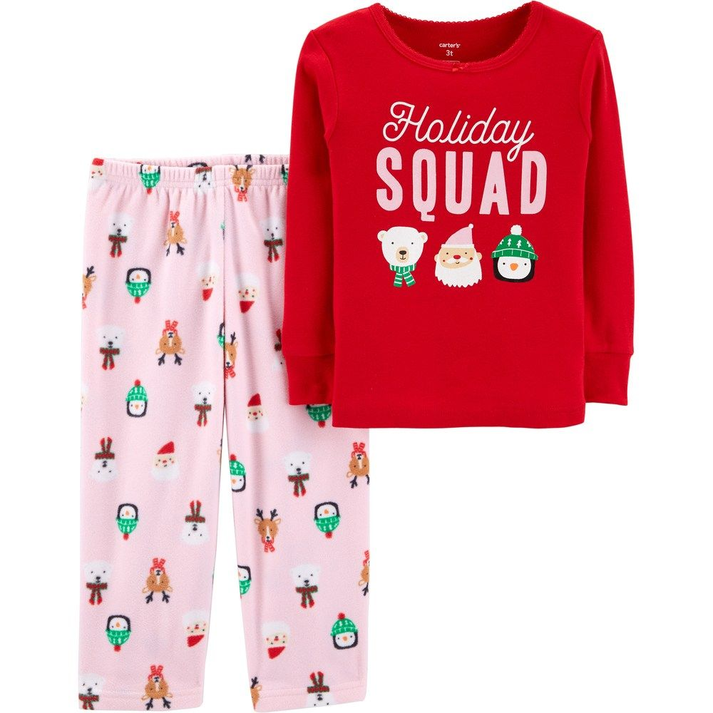 795a85781 Toddler Girl Carter s Christmas Top   Microfleece Bottoms Pajama Set ...