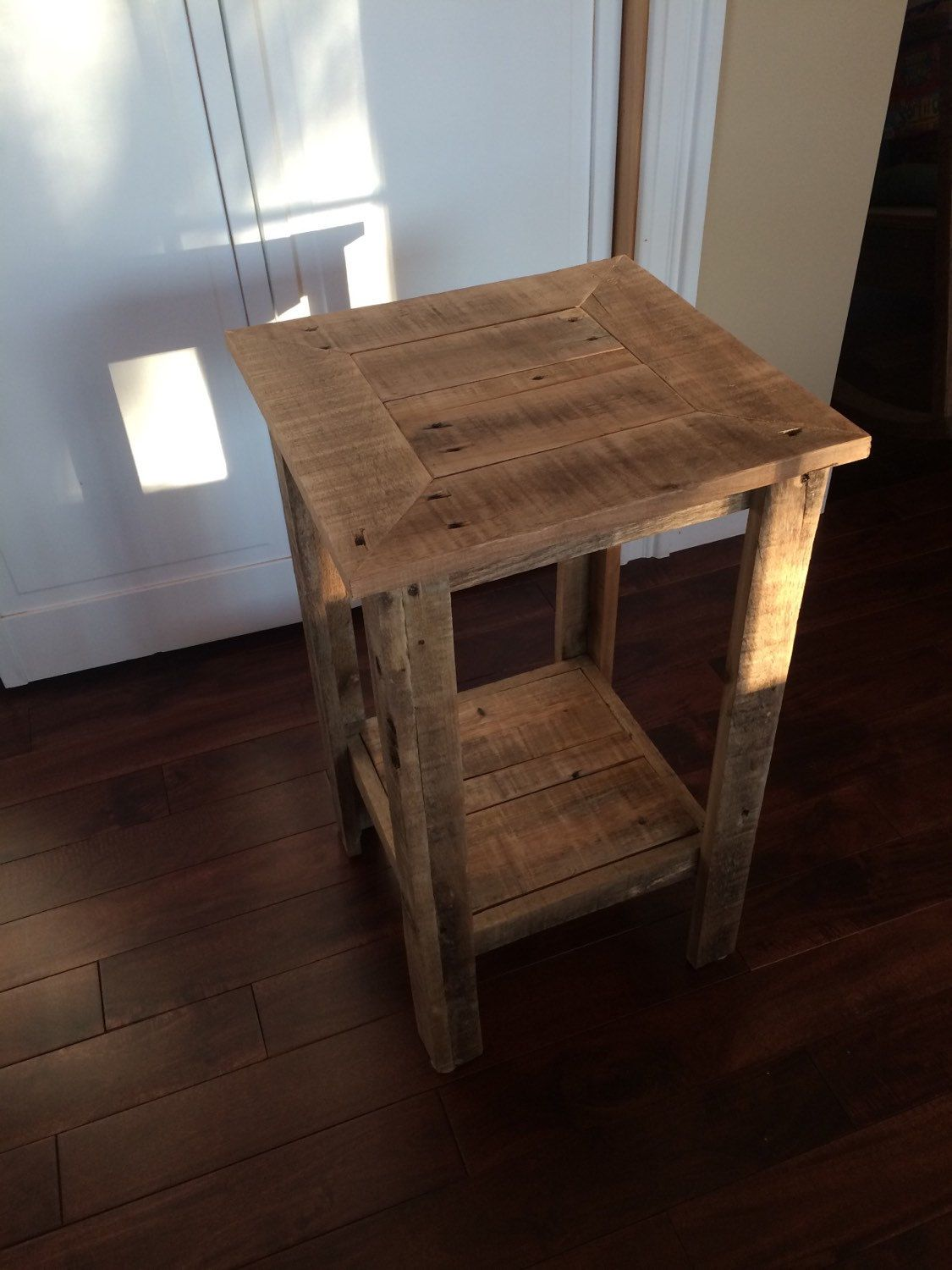 Rustic Pallet Wood End Table Night Stand Side By