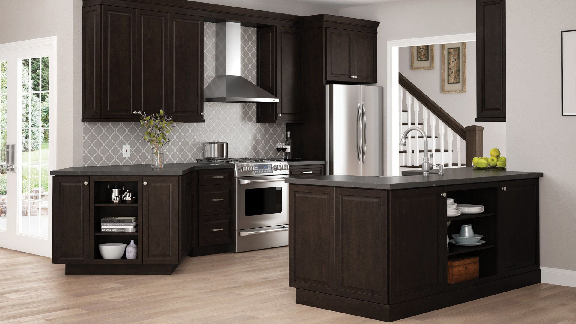 Shop Our Kitchen Cabinets Department To Customize Your Gretna Wall Cabinets In Espresso T Small Kitchen Cabinets Home Depot Kitchen Kitchen Cabinets Home Depot