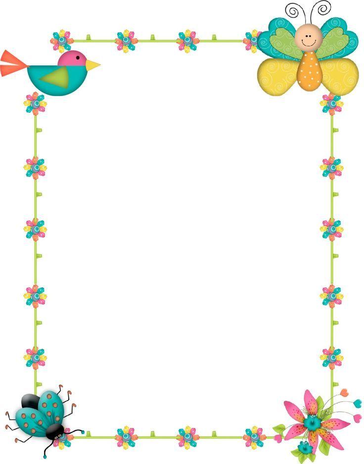 Resultado de imagen de bordes decorativos para ni os - Hojas decoradas para ninas ...
