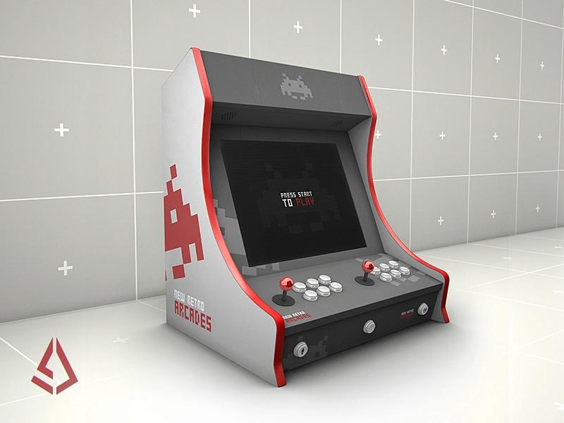 Retro Gaming Bartop Arcade Cabinet Mockup Template Arcade