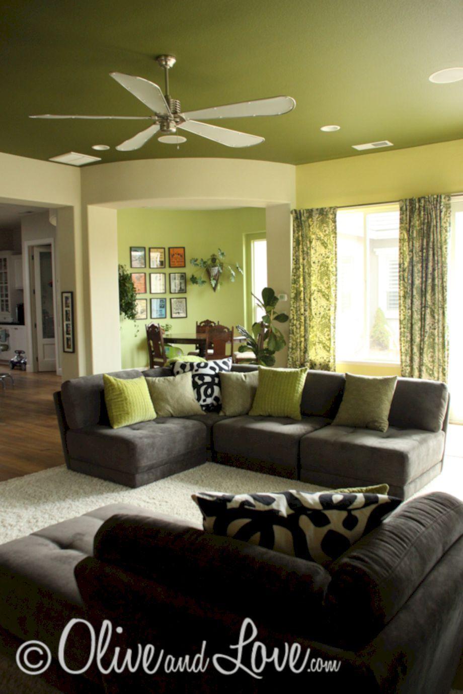 50 Beautiful Dark Green Living Room Furniture Ideas | Vida moderna ...