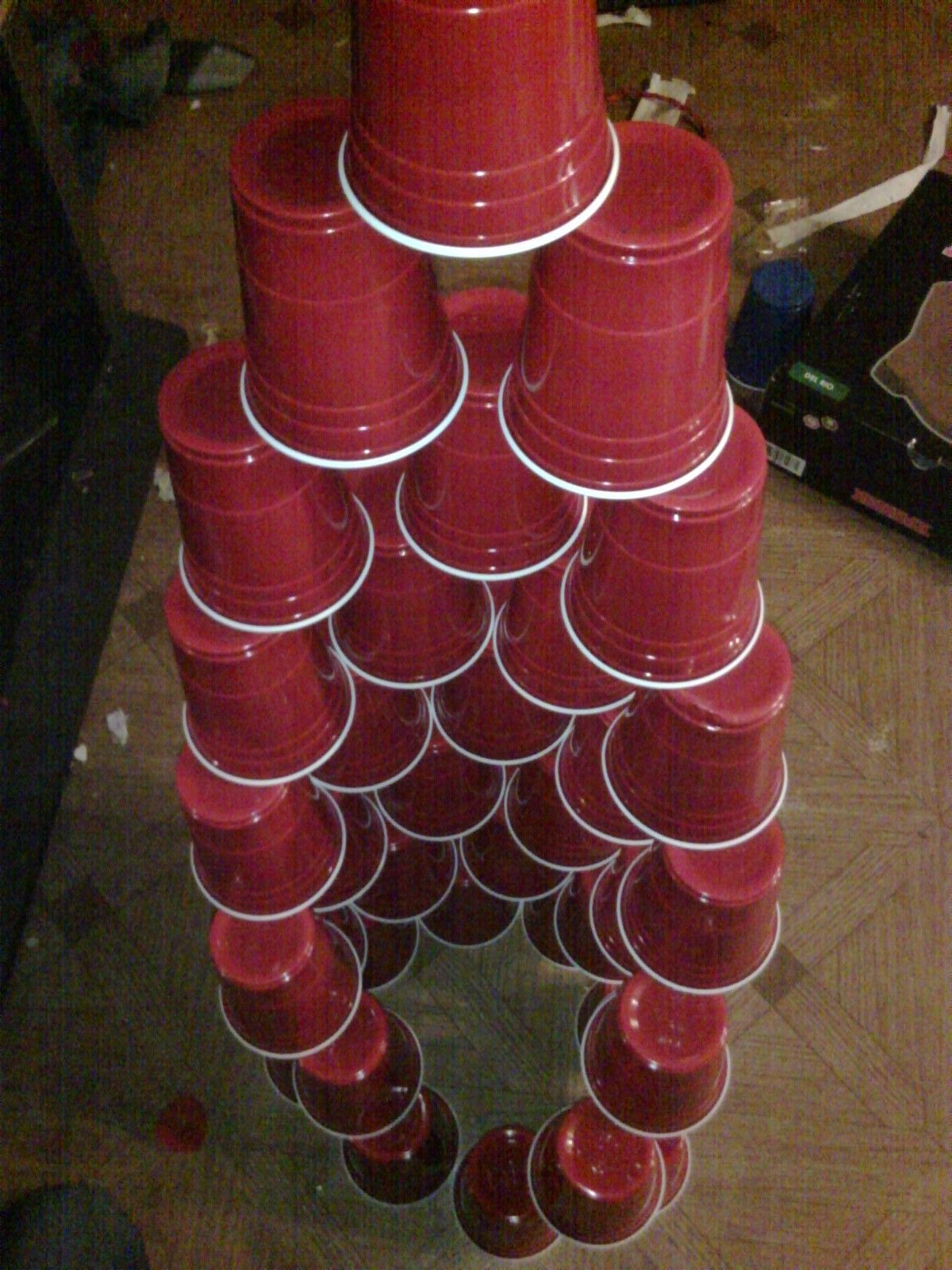 actually my son did this with red solo cups, he LOVES ...