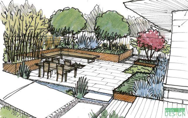Corten Steel Wall Sketch Perspective Sketch Garden Design Patio Design