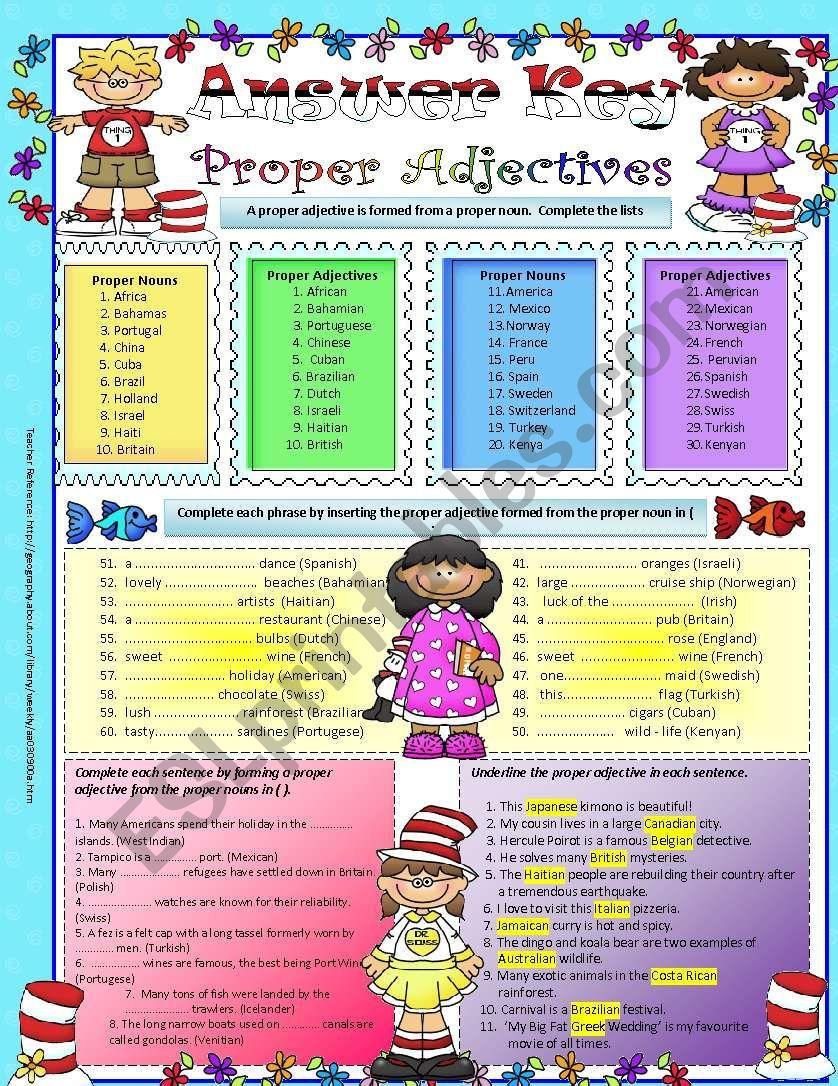 Fun With Words Proper Adjectives Adjective Worksheet Adjectives Kids Worksheets Printables [ 1086 x 838 Pixel ]