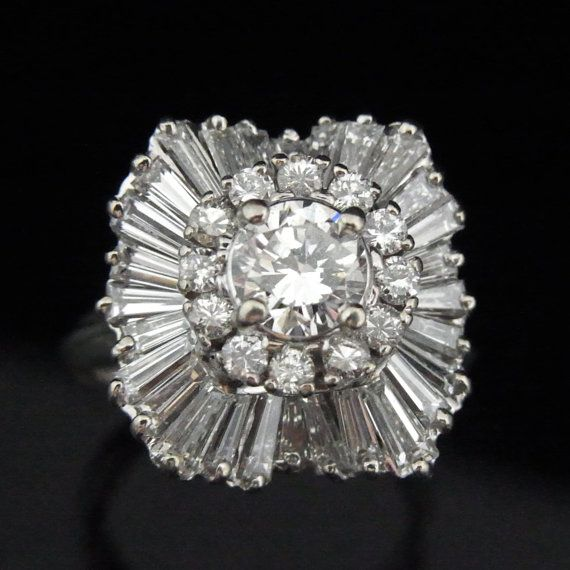 Vintage 2.86ct Diamonds F/SI2 Ballerina Ring 14k by sohojewelers