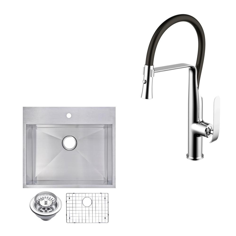 Water Creation All In One Drop In Top Mount Stainless Steel 25 In Single Bowl Kitchen Sink With Faucet In Chrome Sink Kit Satin Sink Single Bowl Kitchen Sink Drop In Kitchen Sink