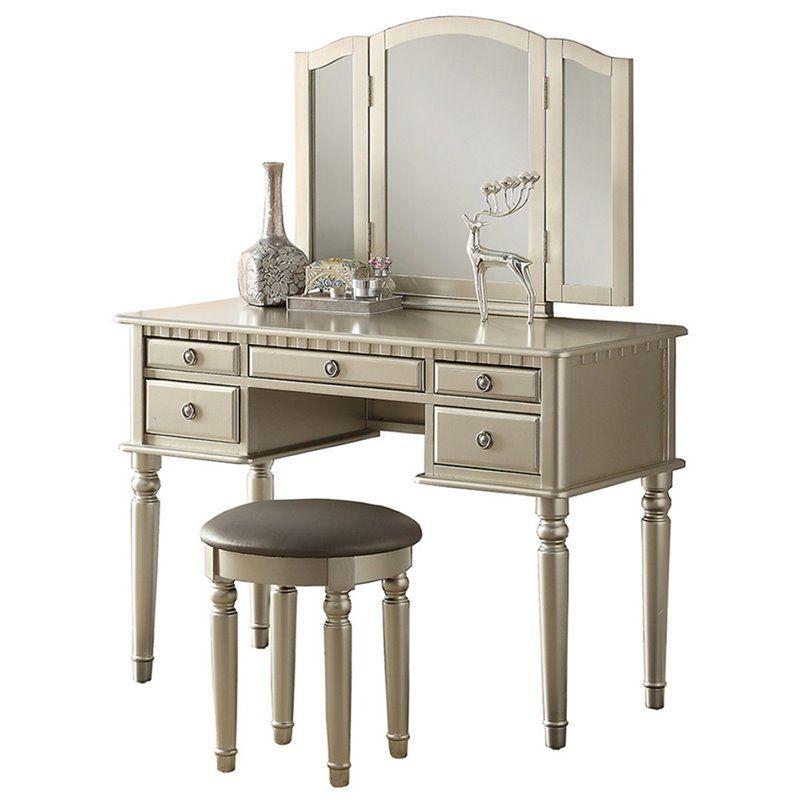 Poundex F4079 3 Pc Silver Finish Wood Make Up Bedroom Vanity Set