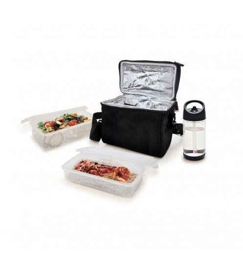 sac isotherme noir avec une bouteille et deux boites repas pour manger un bon repas sur la plage. Black Bedroom Furniture Sets. Home Design Ideas