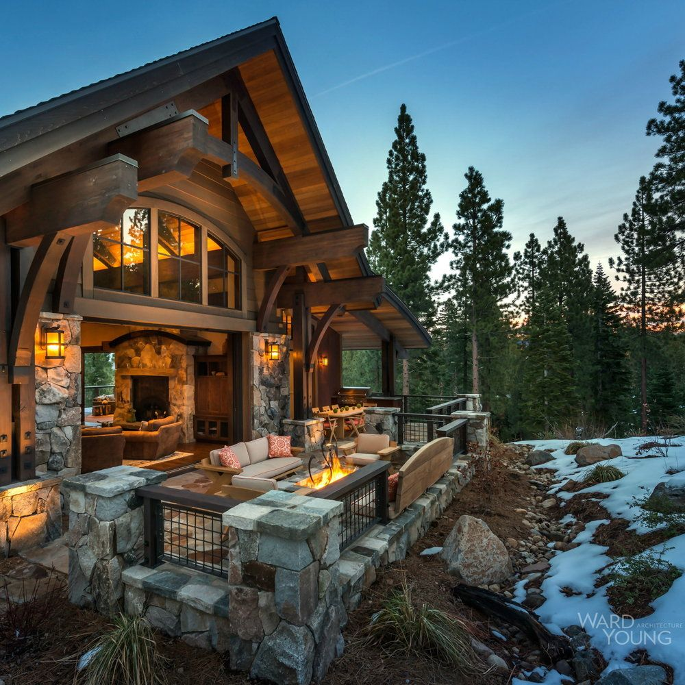 Lake Tahoe Homes: 5,500 SF Mountain Transitional Lodge On A Steep Site With