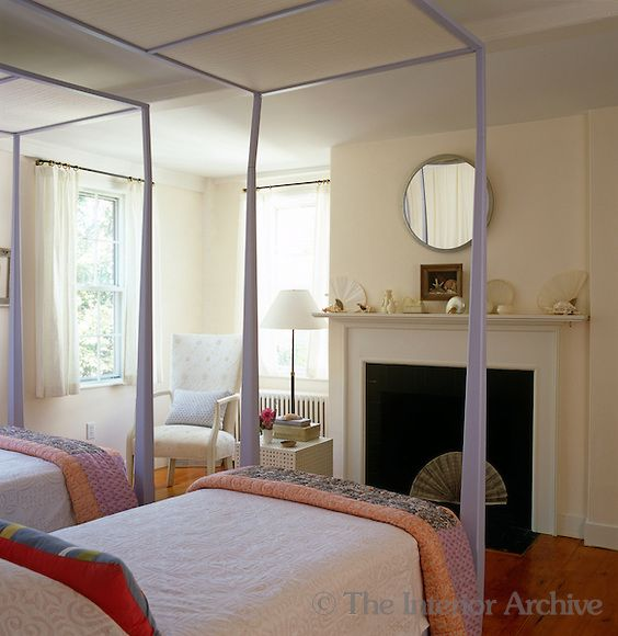 tom scheerer twin four poster beds painted a pale lavender in a simple airy bedroom in. Black Bedroom Furniture Sets. Home Design Ideas