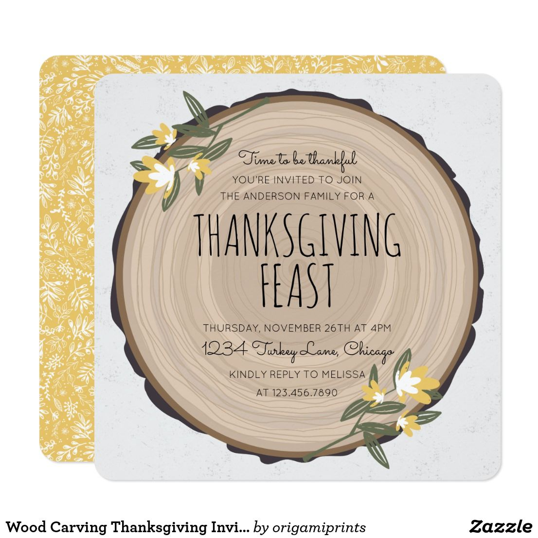 Wood Carving Thanksgiving Invite Rustic Dinner Invitation Design By Shelby Allison Featuring A Round Wooden