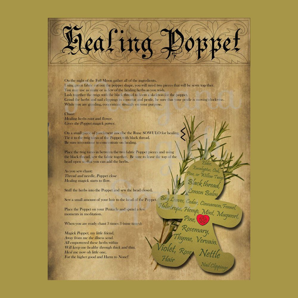 HEALING POPPET SPELL with Poppet Pattern 2 Pages - Instant Download
