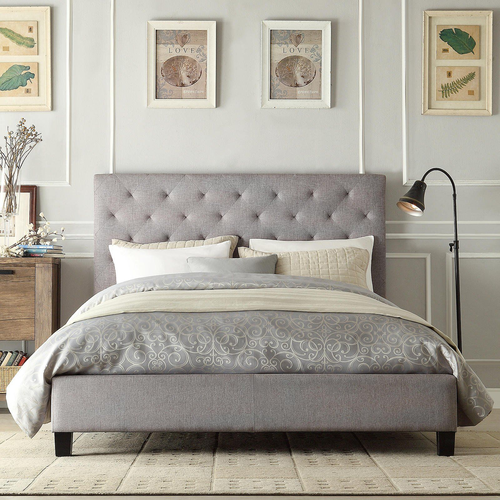 Modern Diamond Button Tufted Upholstered Padded Square Queen