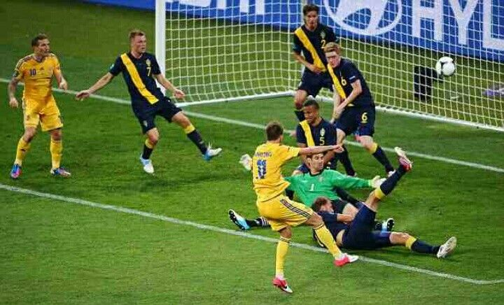 Ukraine 2 Sweden 1 in 2012 in Kiev. Andriy Yarmolenko has his shot blocked in Group D at Euro 2012.