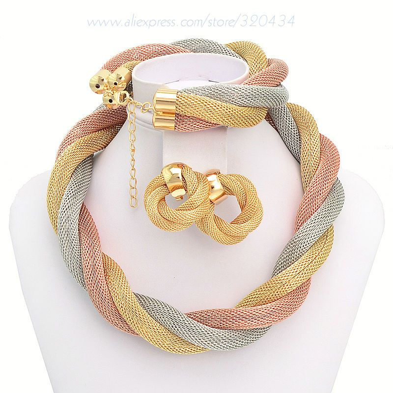 Free Shipping African Fashion Gold Plated Crazy Big Heavy Necklace