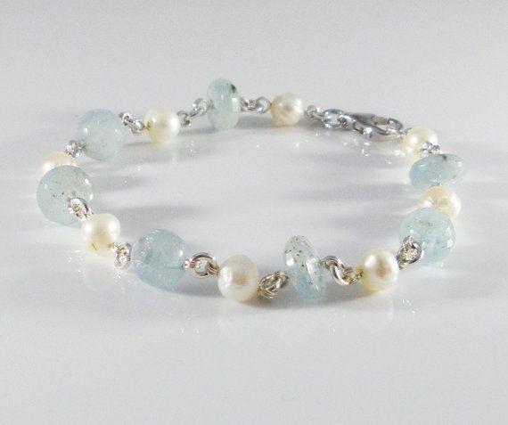 15% Off Aquamarine Pearls Bracelet Link Bracelet by Platanza