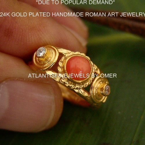 handmade designer coral ring w topaz 24k gold over 925k sterling silver by omer a turkish jewelrycoral