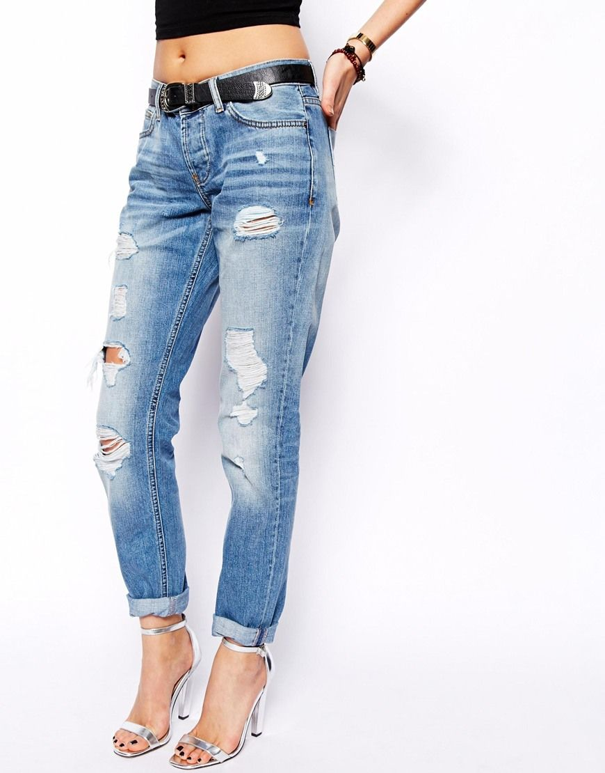 Brady Low Rise Slim Boyfriend Jeans in Vintage Wash with Rips ...