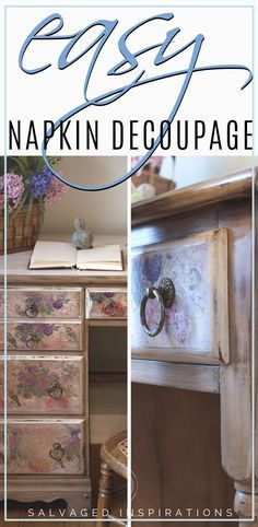 EASY Napkin Decoupage | French Country Charmer Makeover | Salvaged Inspirations  #siblog #salvagedinspirations #paintedfurniture #furniturepainting #DIYfurniture #furniturepaintingtutorials #howto #furnitureartist #furnitureflip #salvagedfurniture #furnituremakeover #beforeandafterfurnuture #paintedfurnituredieas #dixiebellepaint #redesignwithprima