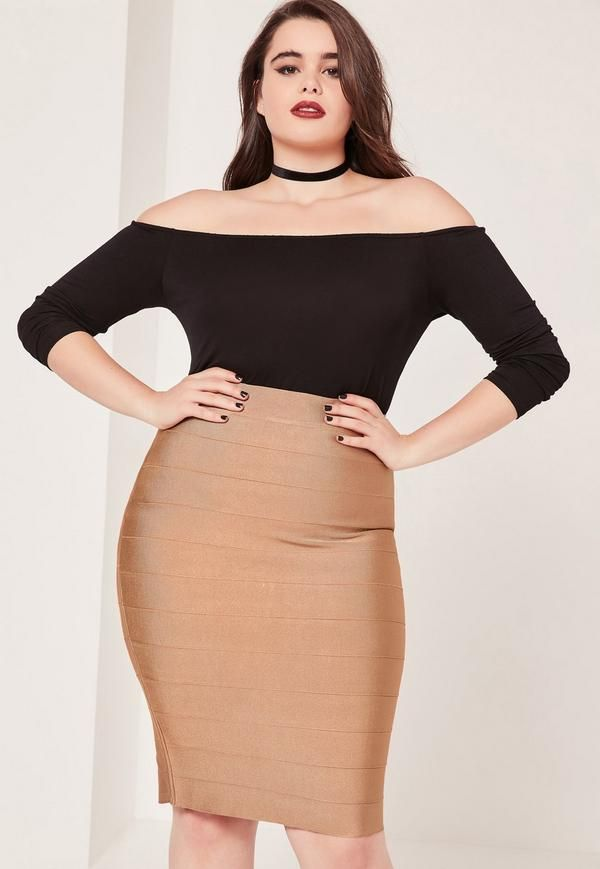fdea7b8277e Plus Size Bandage Split Midi Skirt Camel - Missguided