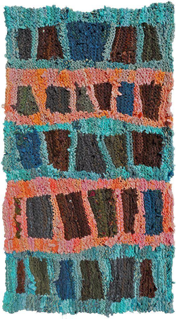 Ladders Rag Rug 34 X 60 Knitted Karen Tiede Studio 1