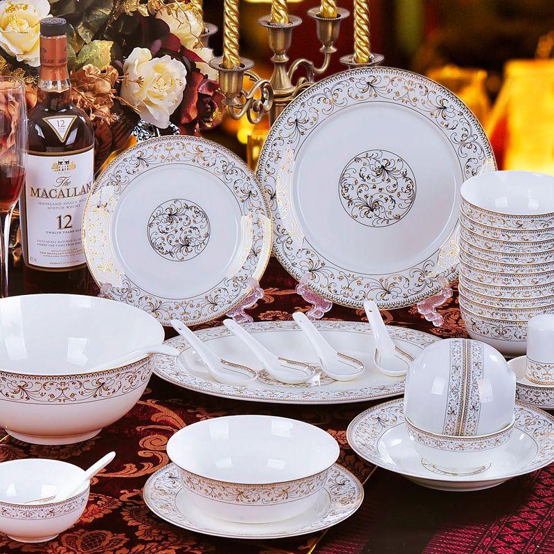 58pcs Set Luxurious Famous Brand Design Bone China Porcelain Dinnerware Porcelain Set Bowl Pot Dish Plate Free Porcelain Dinnerware Dinnerware Dinnerware Sets